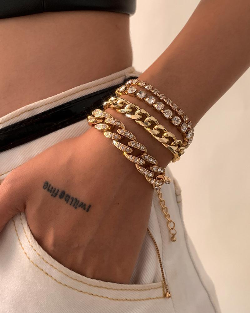 4PCS Studded Decor Chain Bracelet