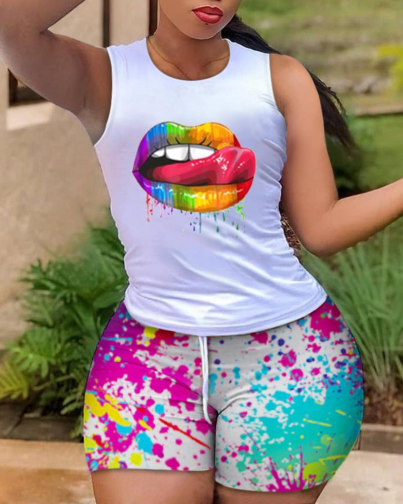 Lip Print Casual Tank Top & Colorblock Drawstring Shorts Set