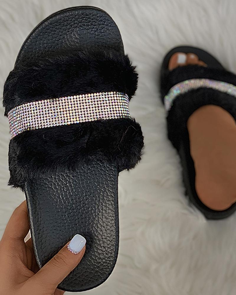 Studded Fluffy Open Toe Slippers