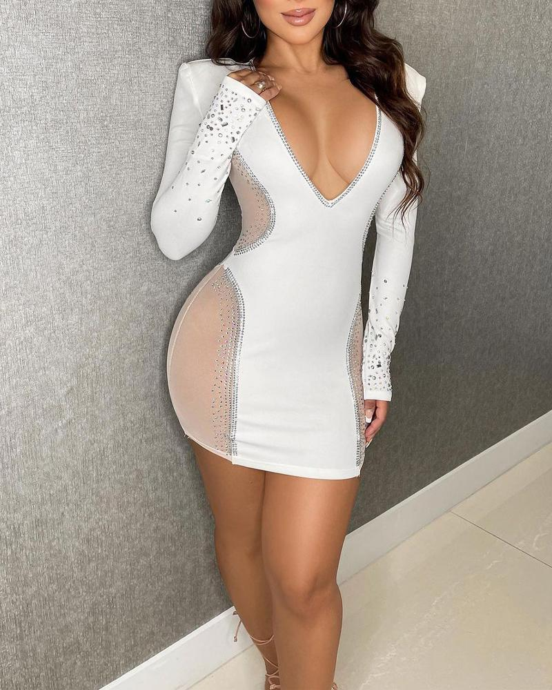 Rhinestone Decor Contrast Mesh Long Sleeve Bodycon Dress
