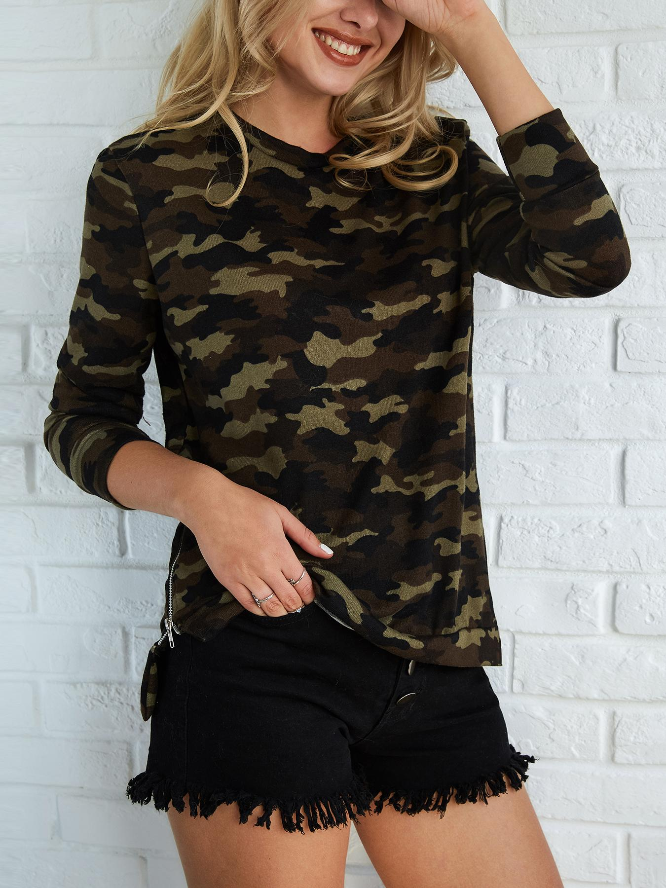 Stylish Camouflage Print Flannel Top