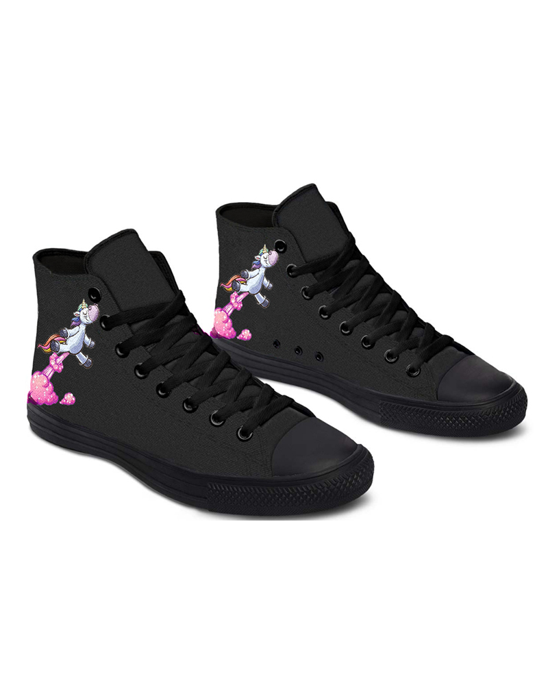 Womens Take Off Unicorn Print Lace-up High Top Canvas Casual Shoes, Black