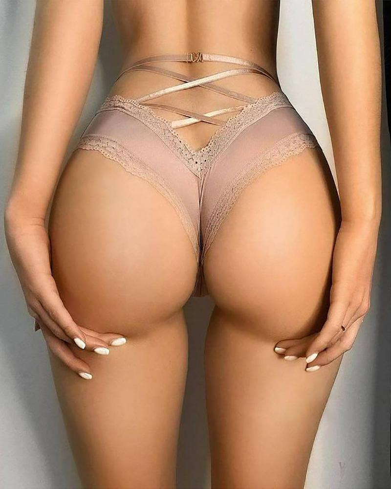 High Waist Bowknot Decor Lace Trim Bandage Panty