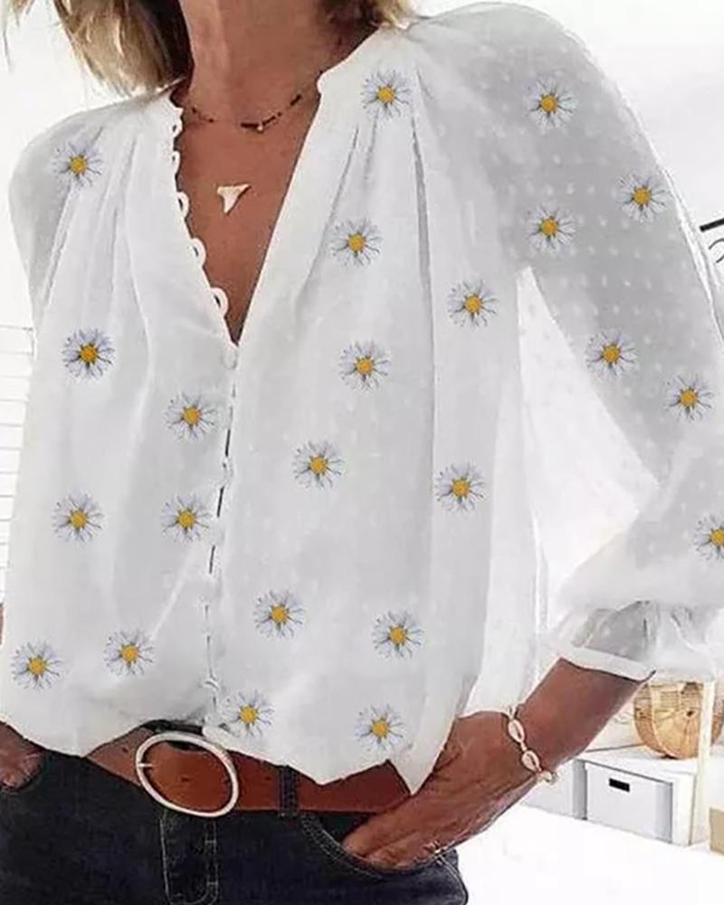 Daisy Print Dot Mesh Button Front Shirt thumbnail