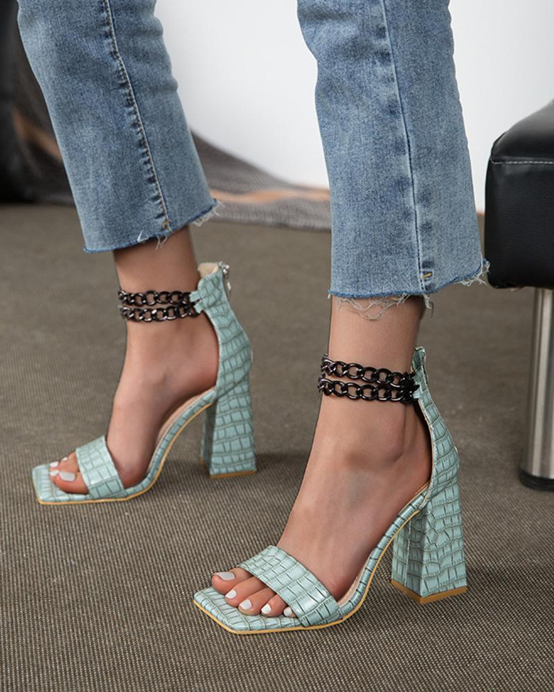 Square-toe Crocodile Pattern Splicing Chain Heel Sandals