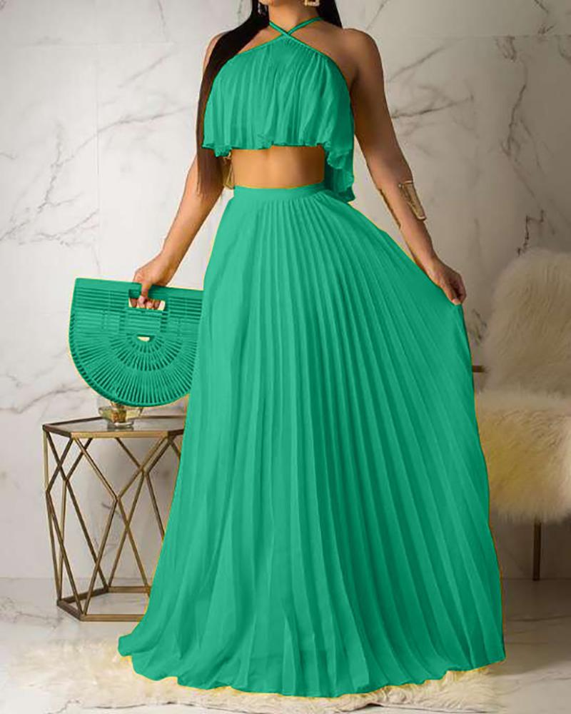 Solid Sleeveless Cropped Tanks With A-line Pleated Loose Skirts Suit Sets thumbnail