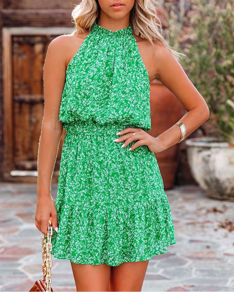 Floral Print Sleeveless Loose Halter Mini Dress