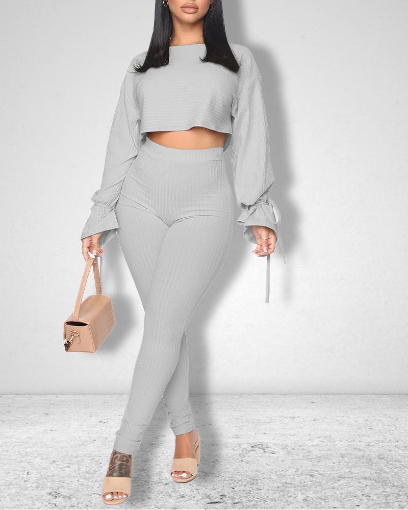Belted Hem Long Sleeve Crop Top & Pants Set