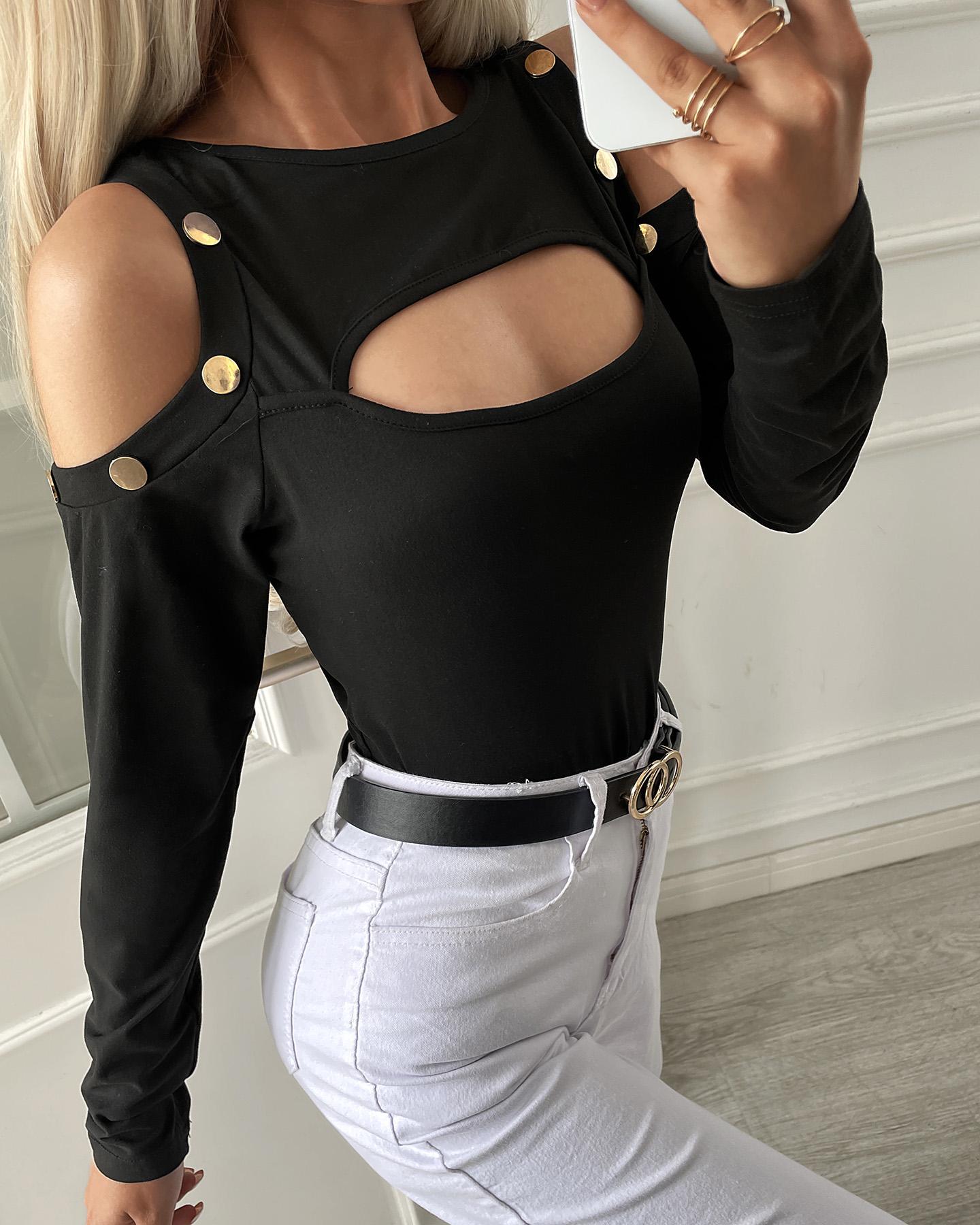 Cutout Cold Shoulder Long Sleeve Top