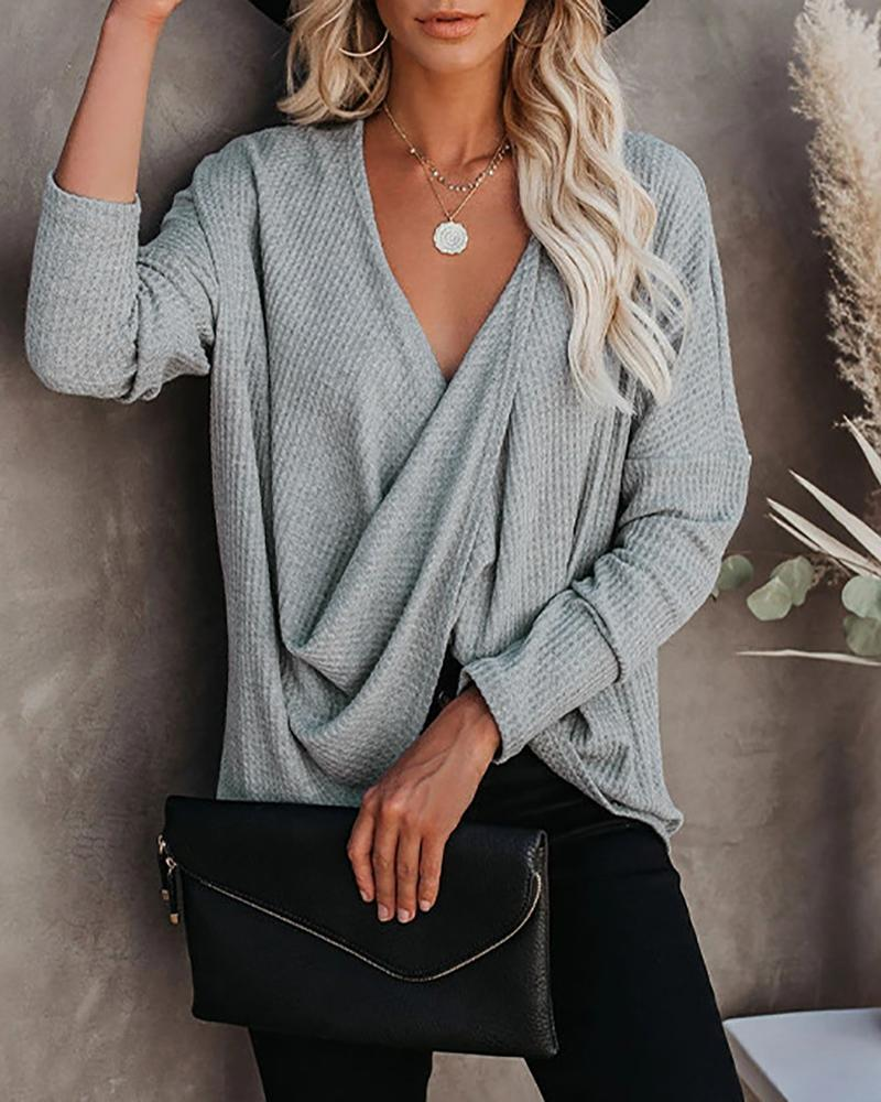 V Neck Long Sleeve Ruched Casual Top