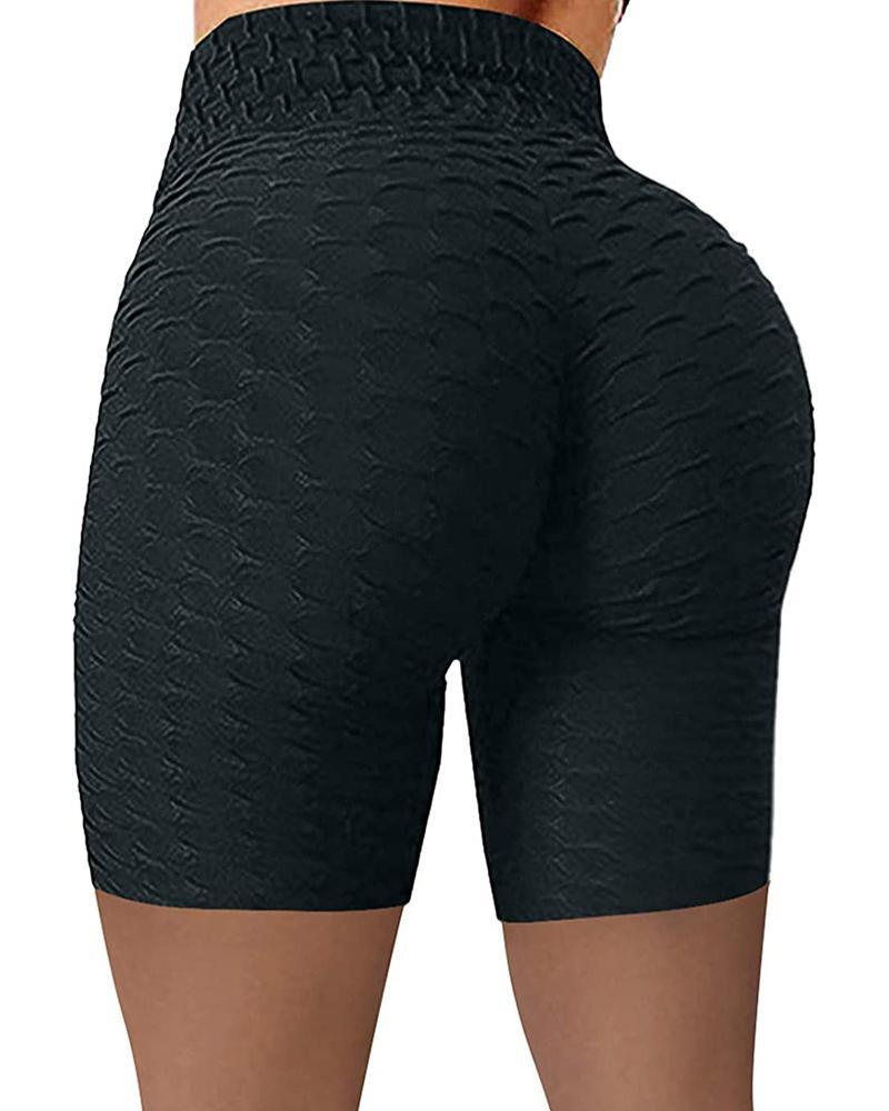 High Waisted Yoga Leggings Running Sports Fitness Gym Bubble Textured Butt Lifting Shorts thumbnail