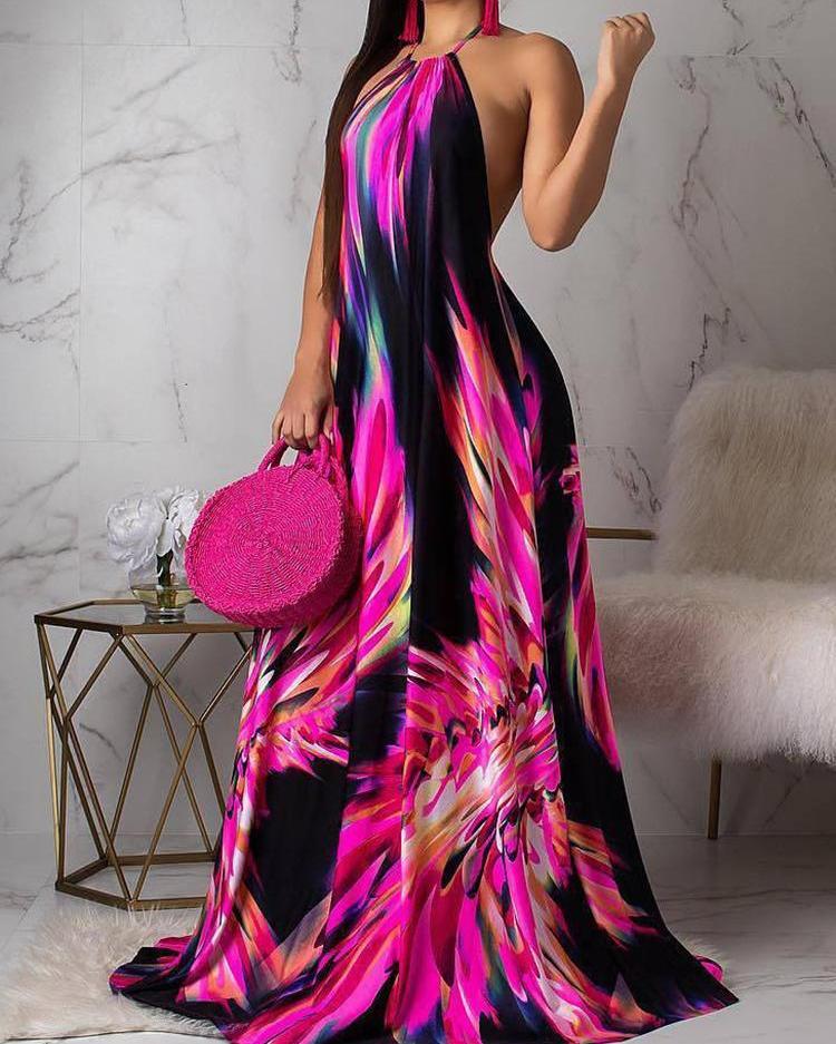 Halter Colorful Print Open Back Maxi Dress