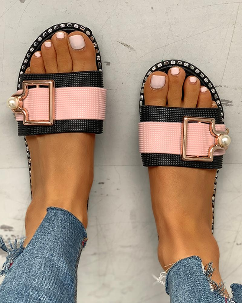 Colorblock Open Toe Buckled Flat Sandals