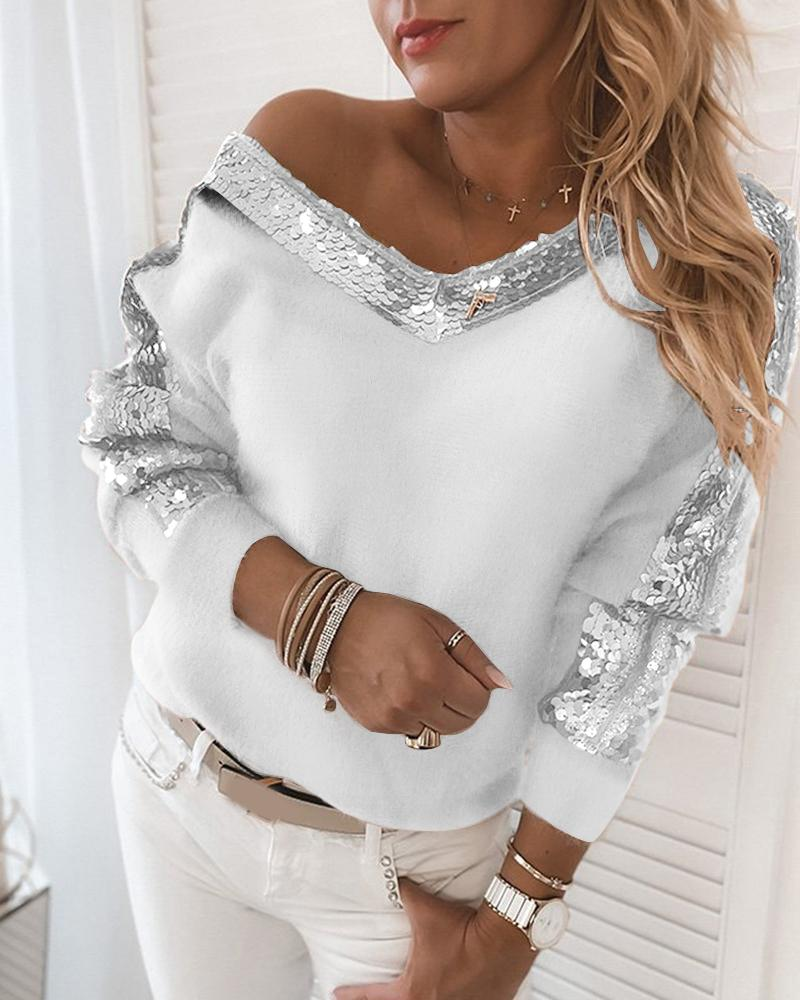 Sequins Contrast Fluffy Long Sleeve Sweater