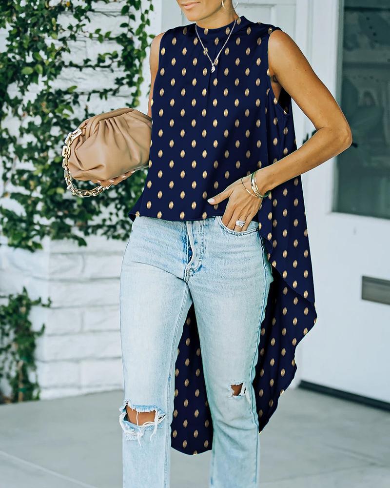 Studded Polka Dot Print Sleeveless Dip Hem Top, Purplish blue