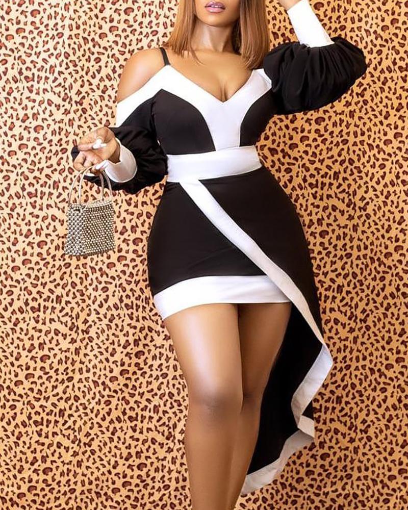 Cold Shoulder Colorblock Lantern Sleeve Asymmetrical Dress, Black