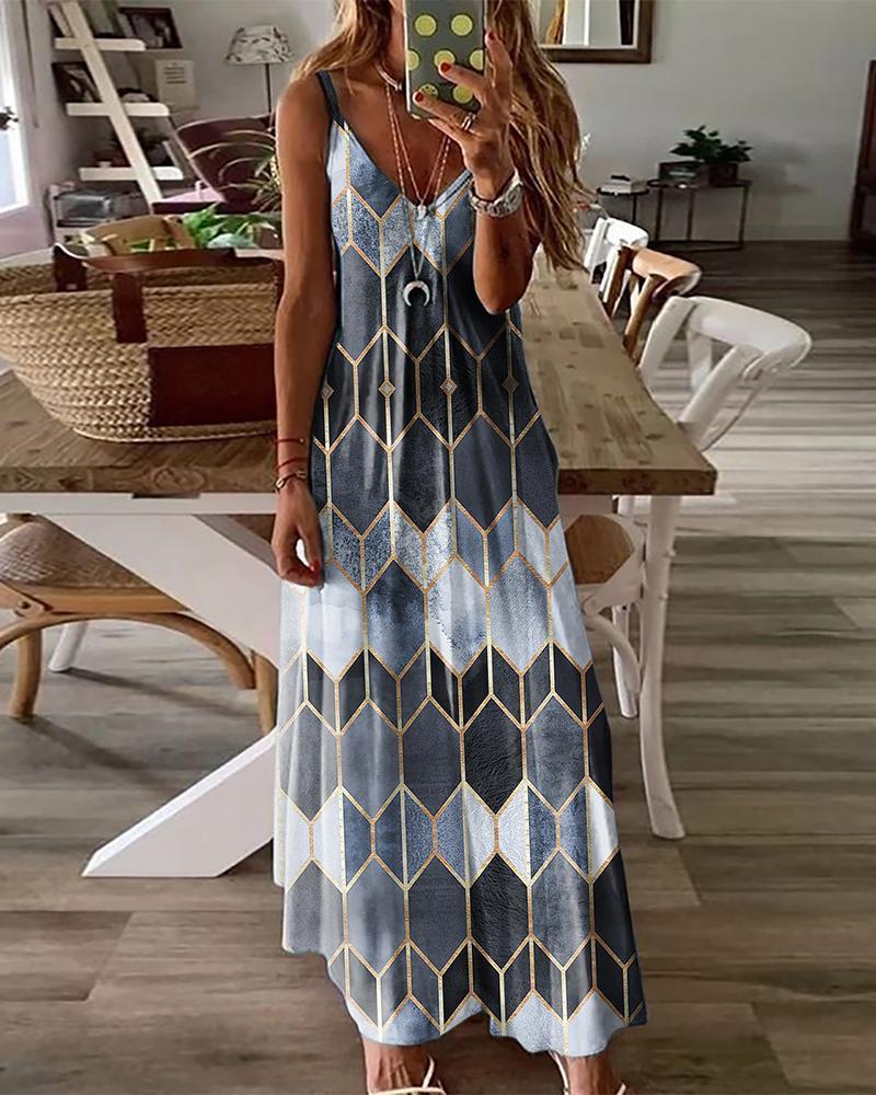 Spaghetti Strap Abstract Print Maxi Dress