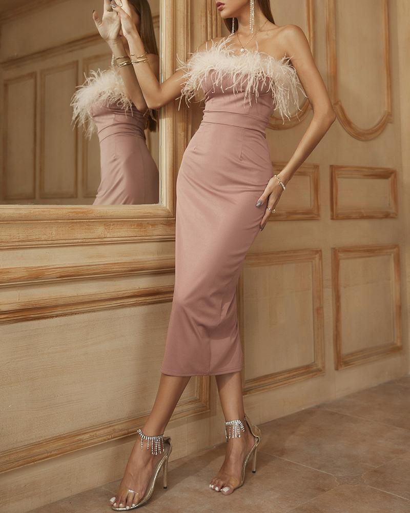 Feather Detail Bandeau Skinny Party Dress