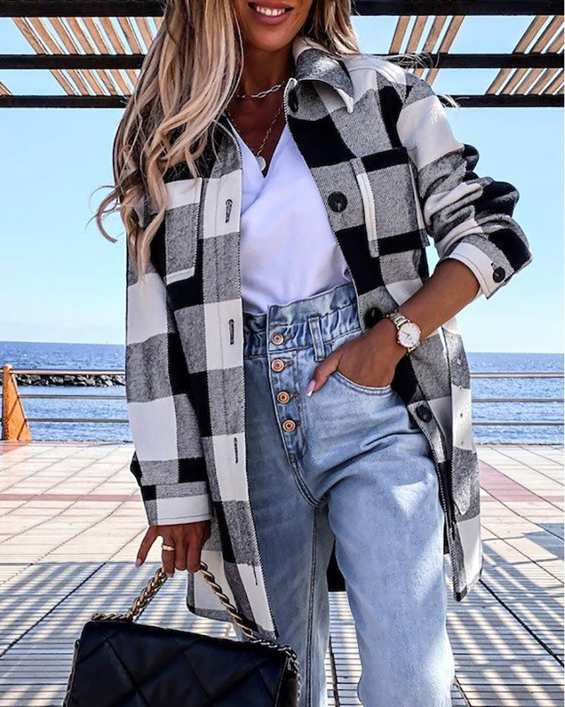 Plaid Print Long Sleeve Buttoned Shacket With Belt