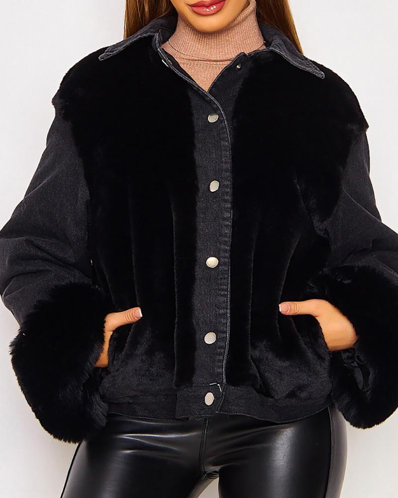 Fluffy Button Design Long Sleeve Denim Coat