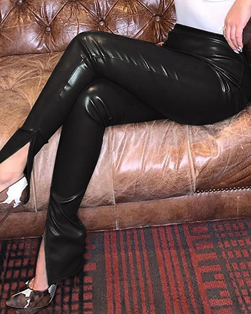 Pantalon bootcut fendu en cuir PU taille haute
