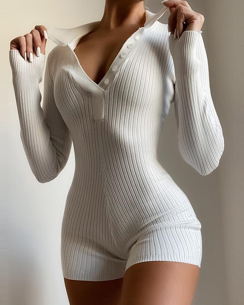 Button Design Ribbed Long Sleeve Skinny Romper