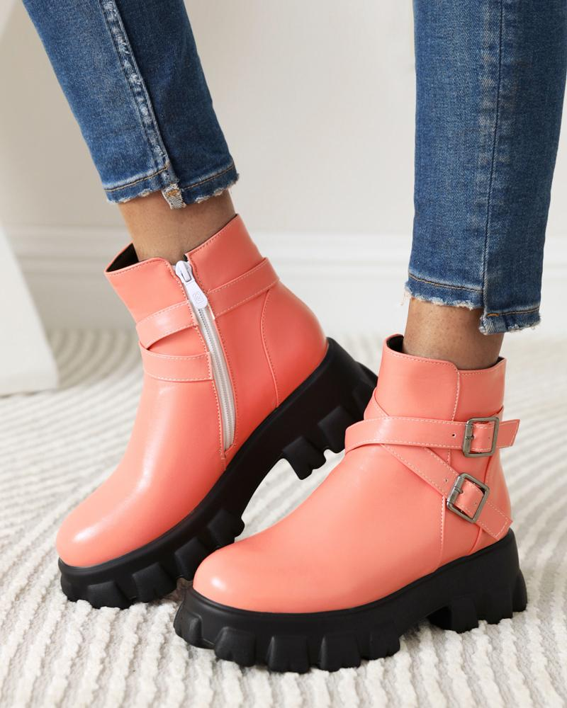 Womens Cross Straps Decoration Round Toe Martin Boots, Pink