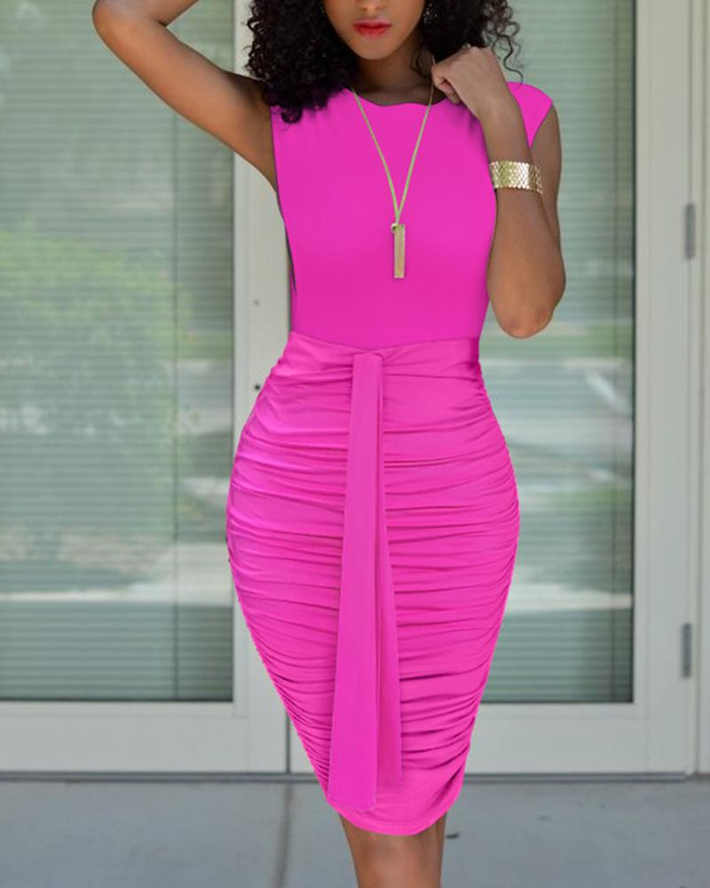 Sleeveless Top &Tie Front Ruched Midi Skirt Set