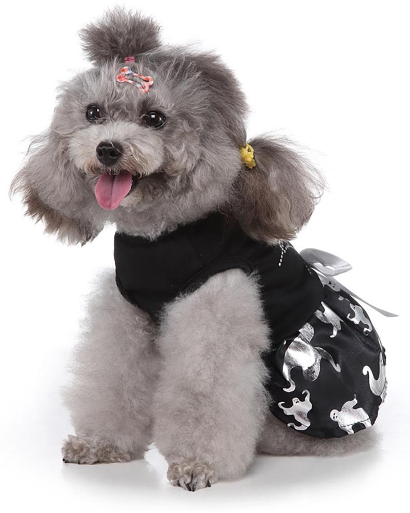Pet Dog Halloween Dress Gothic Dark Funny Silver Print Dog Cat Dress Bowknot Ruffle Cute Pet Party Costume Cosplay Suit Skirt