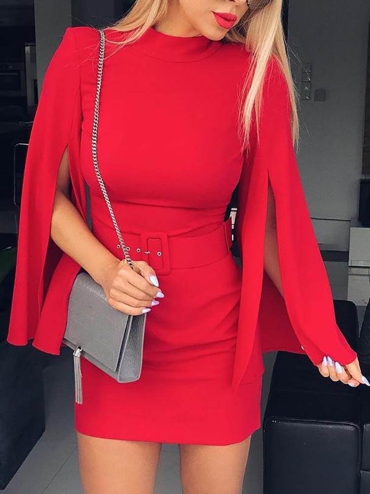 Joyshoetique coupon: Solid Slit Long Sleeve Belted Sheath Dress