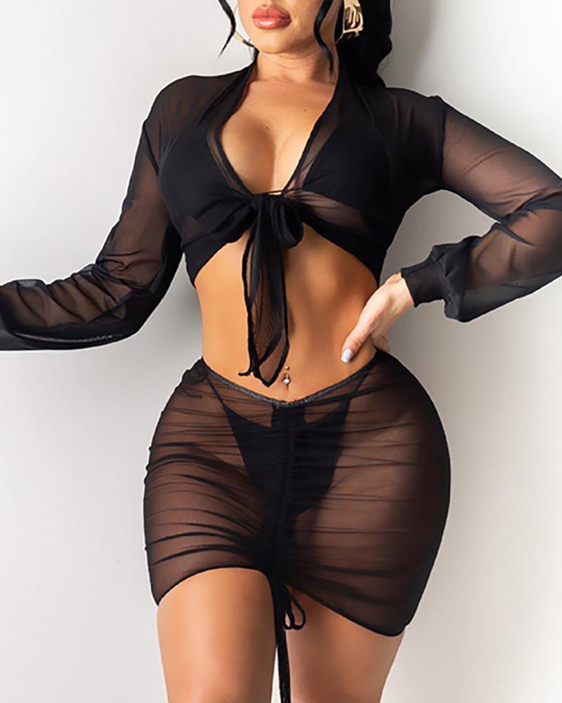 4PCS Sunscreen Drawstring Bikini Set
