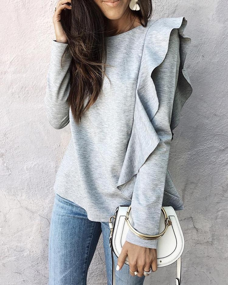 Solid Frilled Casual Blouse
