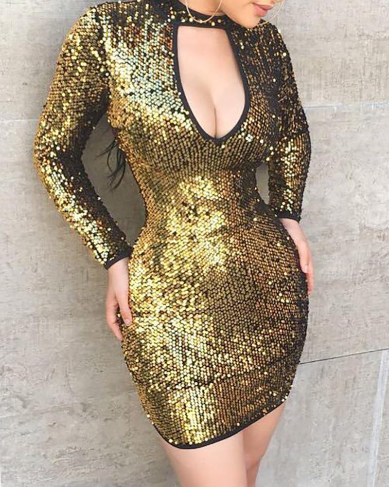 Sequins Cut Out Chest Bodycon Dress