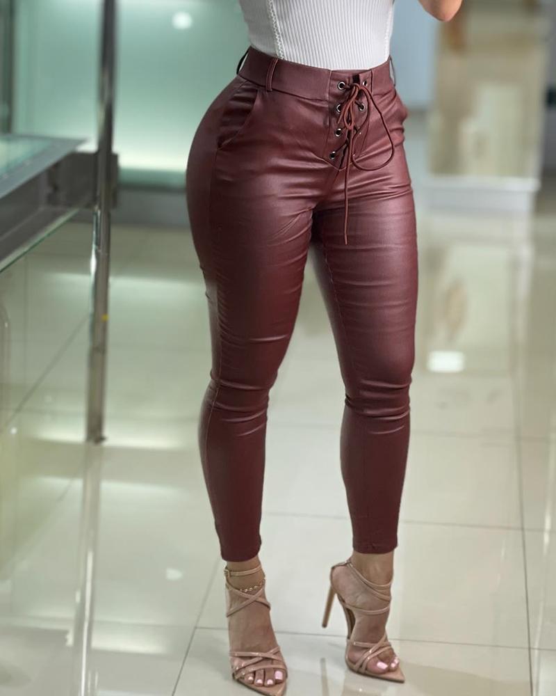 Eyelet Lace Up Pocket Design PU Leather Pants, Wine red
