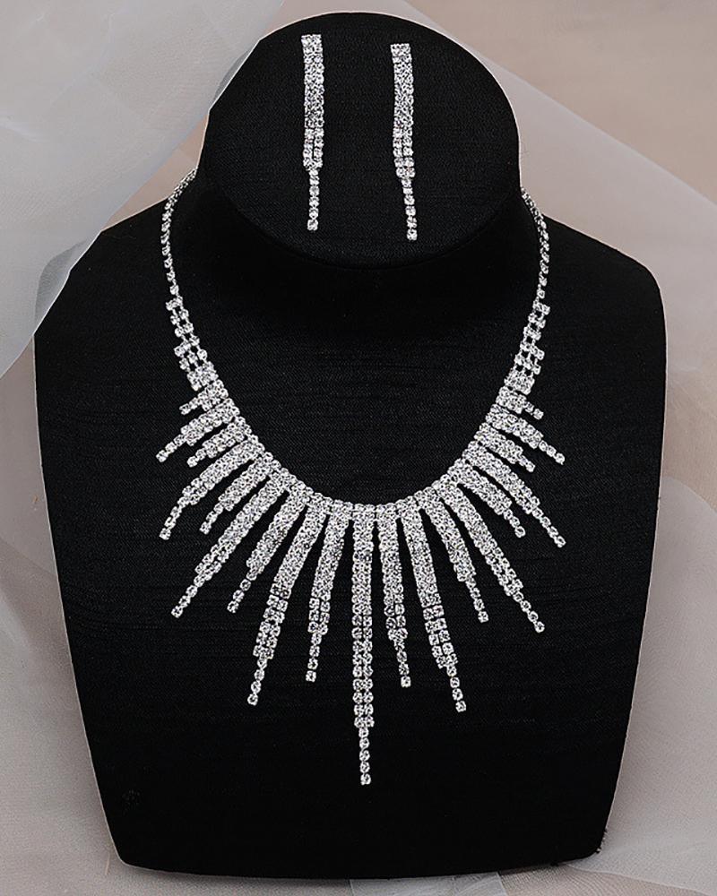 Rhinestone Tassel Drop Earrings & Necklace Jewelry Set