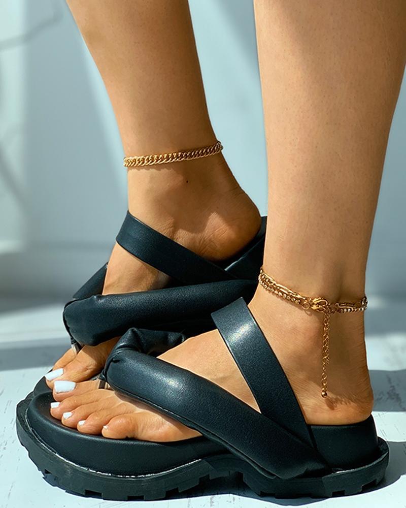 Toe Post Flatform Casual Slippers, Black