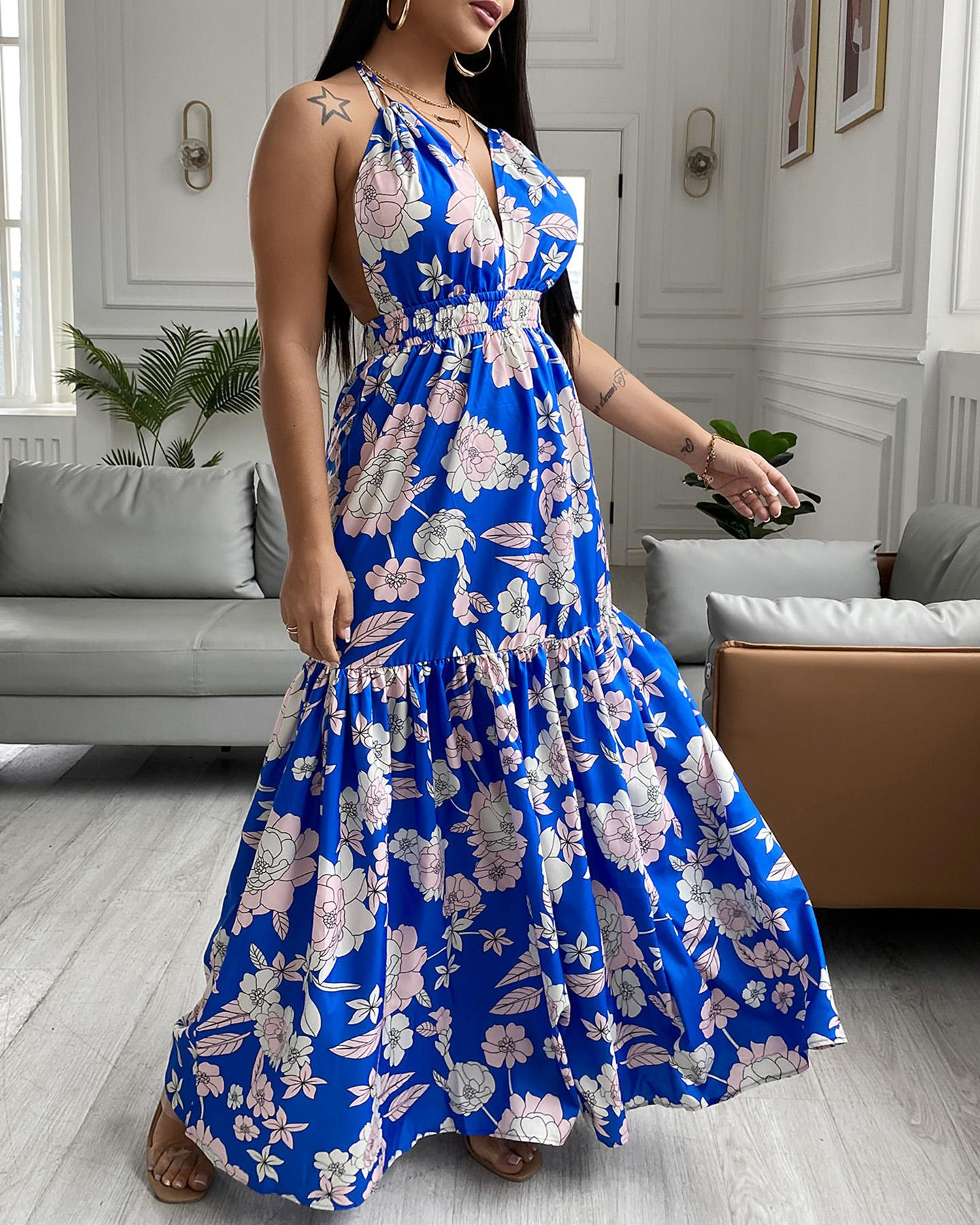Floral Print Halter Backless Maxi Dress