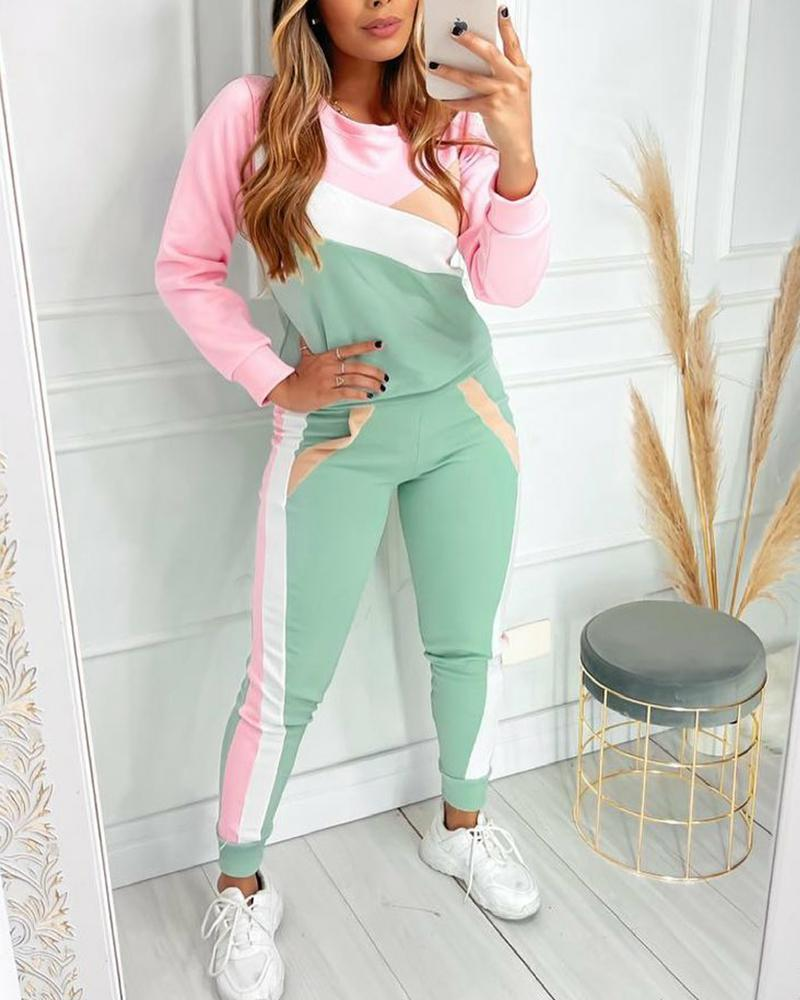 Colorblock Long Sleeve Top & Pants Set