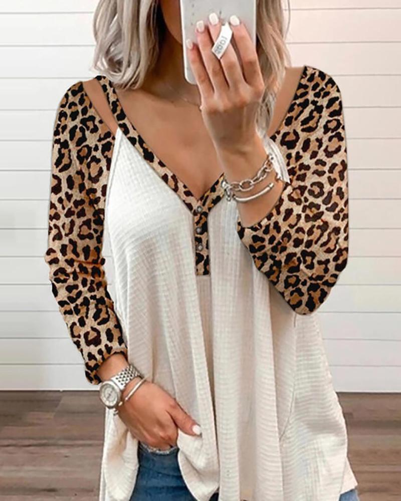 Leopard Print V Neck Button Design Ruffle Top