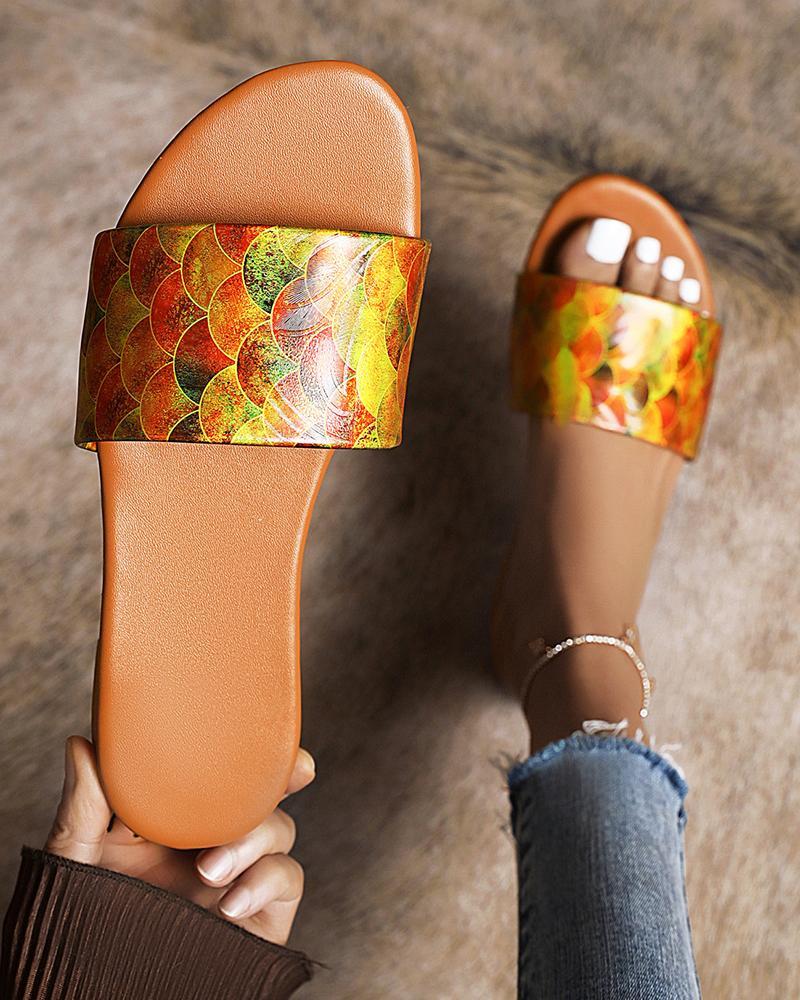Multicolor Vintage Patterns Upper Open-toe Flat Sandals