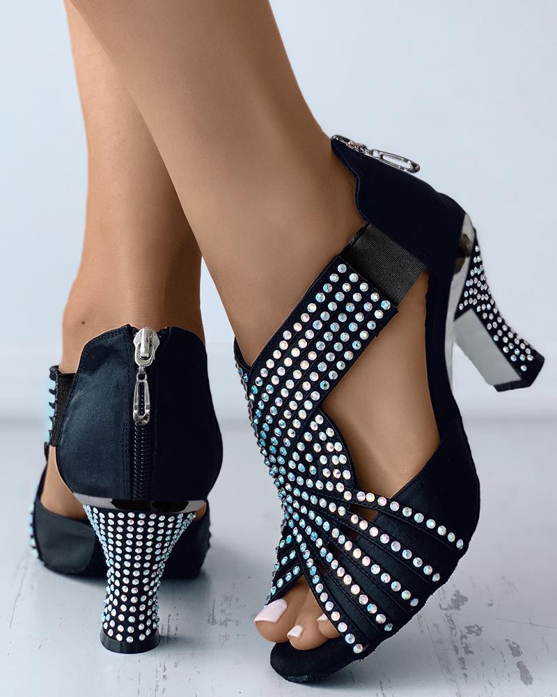 Peep Toe Zip Back Rhinestone Latin Dace Shoes