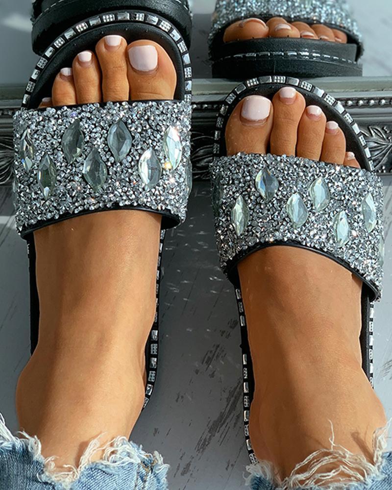 Studded Rhinestone Open Toe Flat Sandals