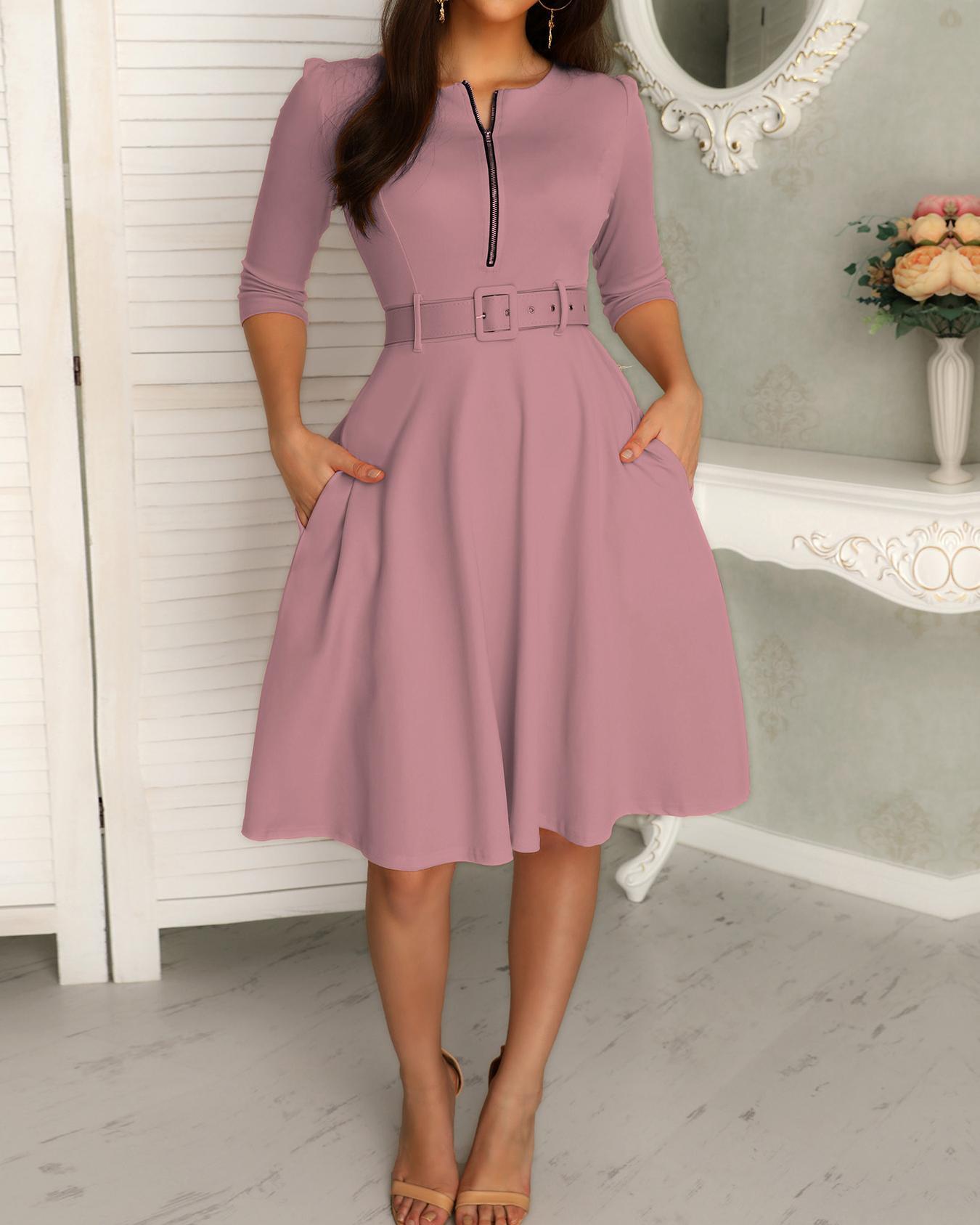 Zipper Pocket Design Casual Dress