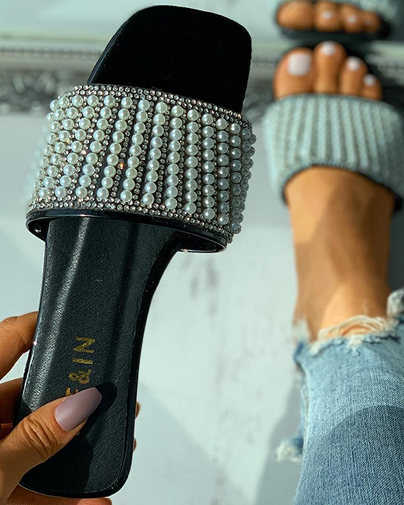 Beaded Decor Square Toe Flat Sandals thumbnail