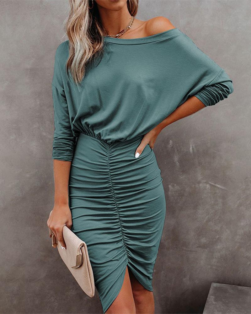 Drop Shoulder Long Sleeve Ruched Skinny Dress