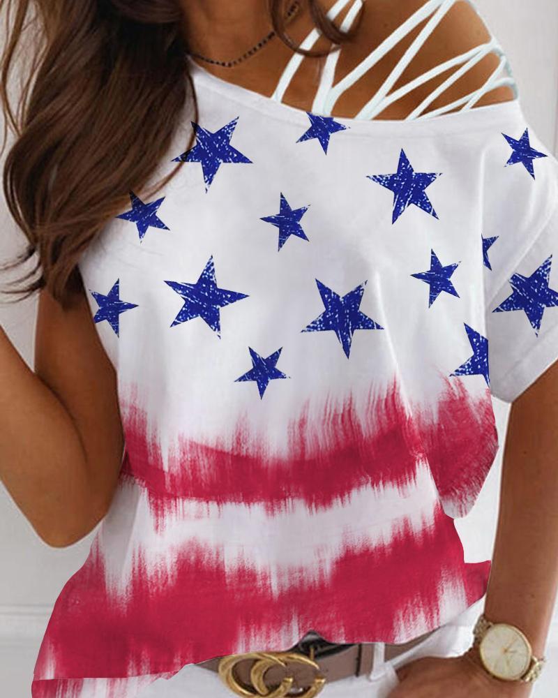 Cold Shoulder Lace-up Flag Pattern Print T-shirt, Multicolor