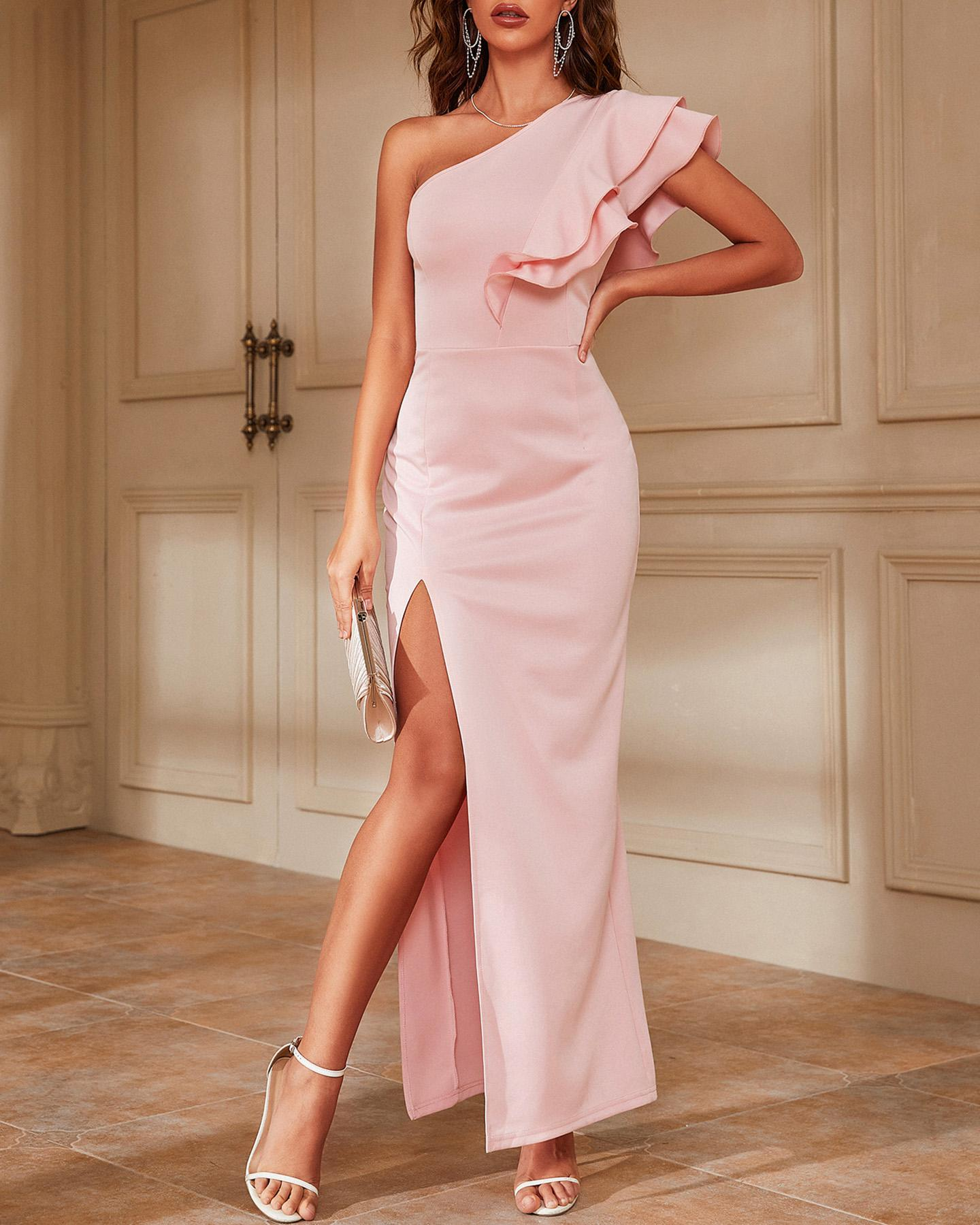 One Shoulder Ruffle Hem High Slit Maxi Dress, Pink