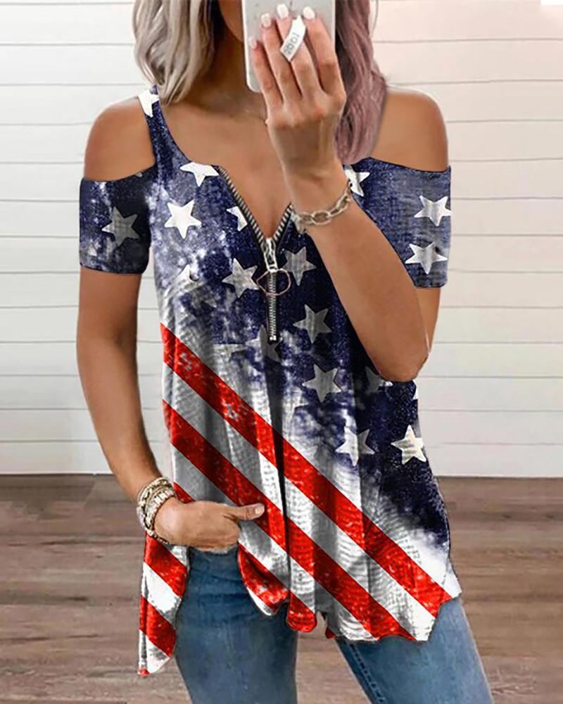 Independent Day Flag Print Cold Shoulder Zipper Decor T-Shirt, Gray