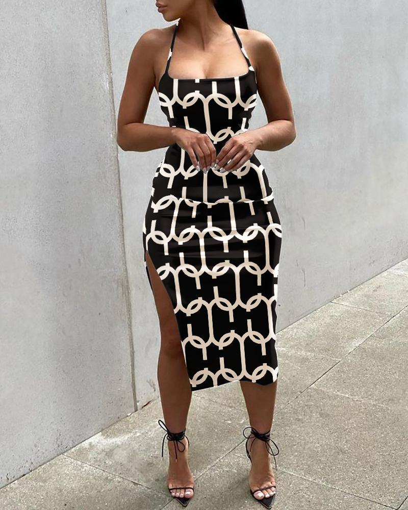 All Over Print High Slit Sleeveless Party Dress