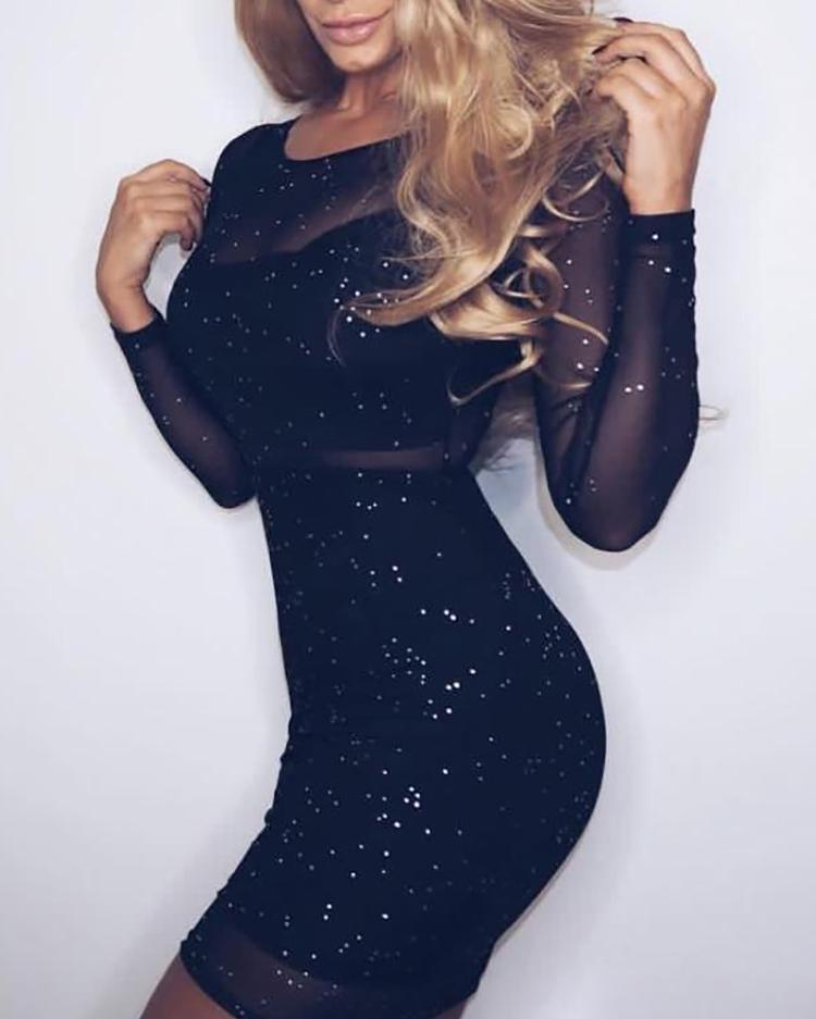 Joyshoetique coupon: Glittering Sheer Mesh Bodycon Dress